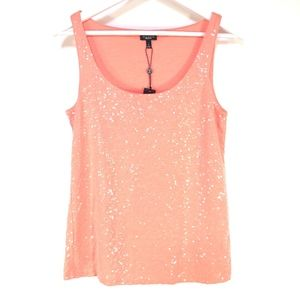 Talbots Peach Coral Sequined Tank Top Cami